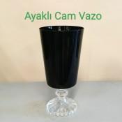 Ayaklı Siyah Cam Vazo
